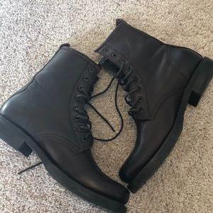 Frye Shoes - Frye Veronica Combat Boots Size 8, Dark Brown